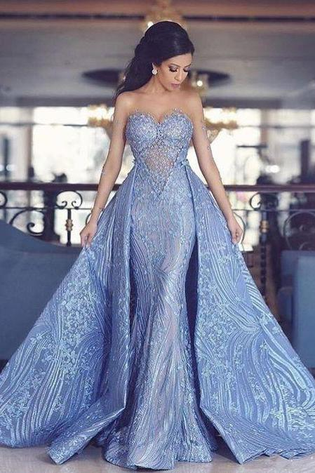 Elegant Prom Dresses,Sweetheart Prom Gown,Mermaid Prom Dresses,,Prom Dress With Detachable Train,Fashion Evening Dresses,Blue Party Dress PF0246